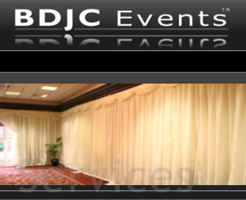 Venue drapes and drapery hire for Events & Weddings services from BDJC Events